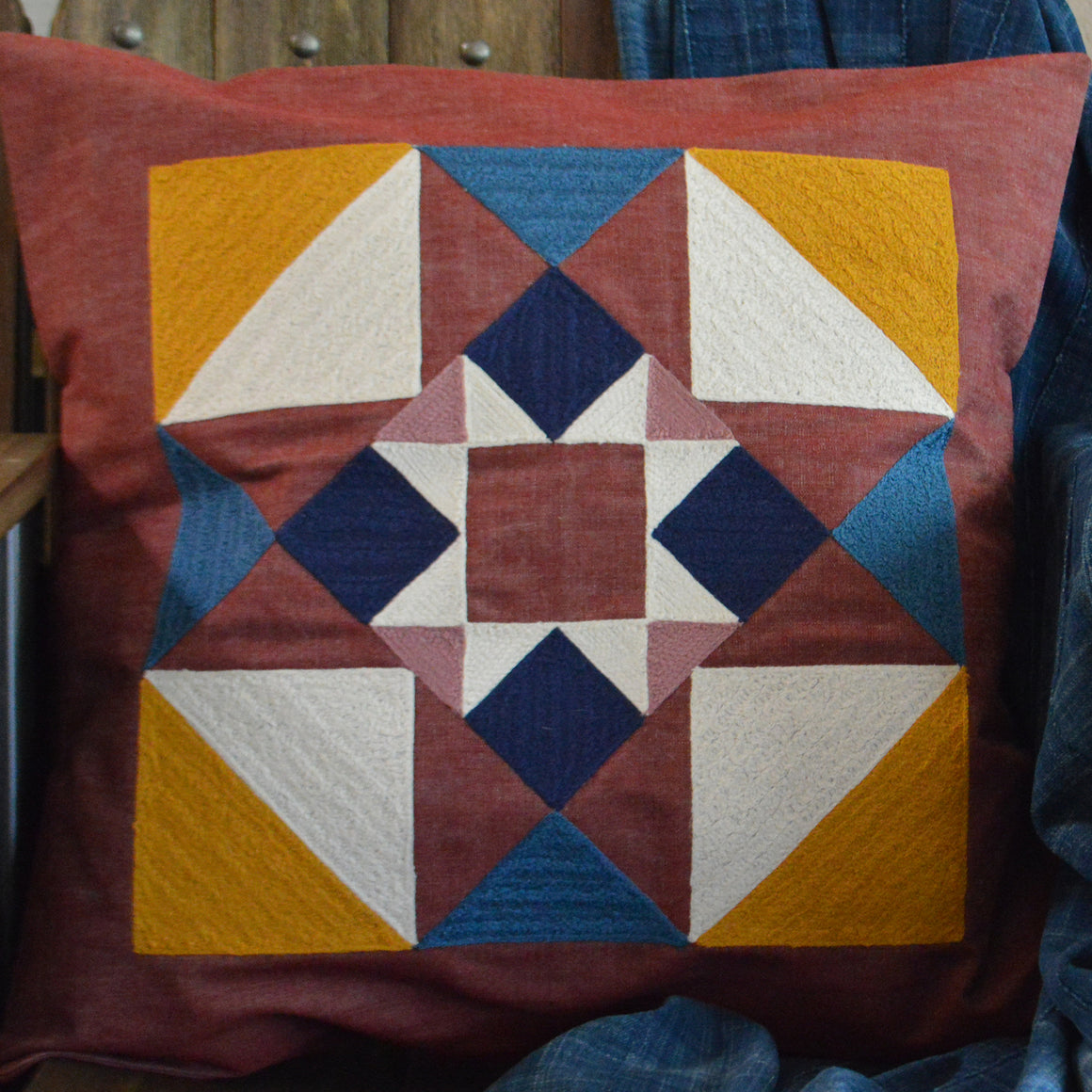 Chain Stitch Throw Pillow- Framed North Star