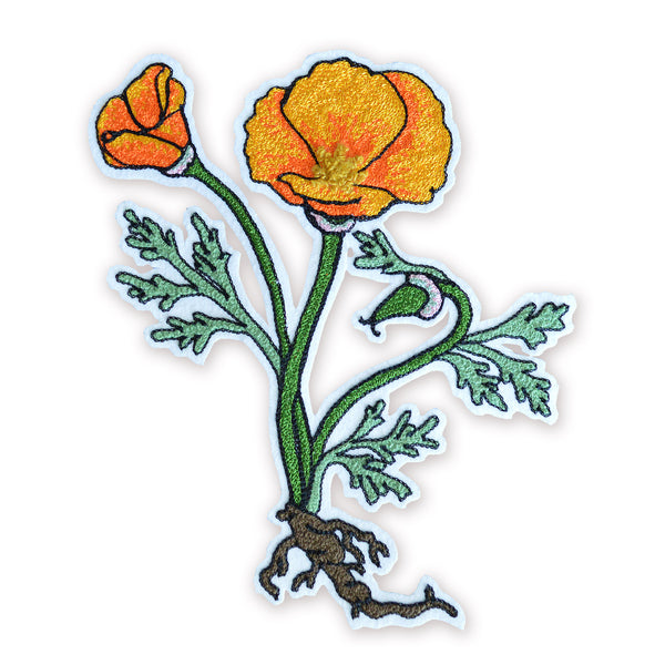 Chain Stitch Patch- California Poppy Flowering Plant