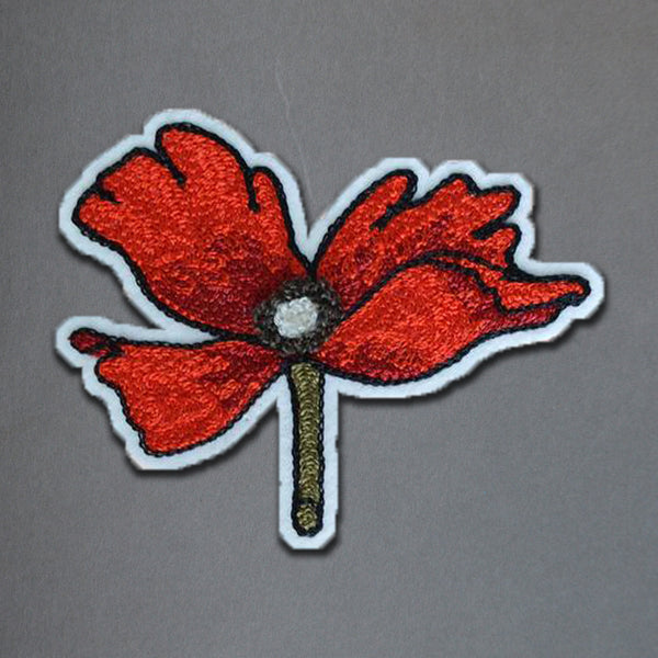 Chain Stitch Patch- Flanders Poppy Flower