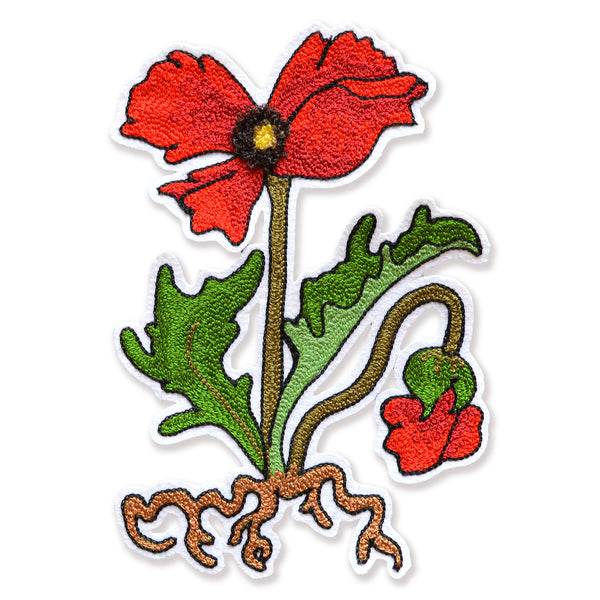 Chain Stitch Patch- Flanders Poppy Flowering Plant