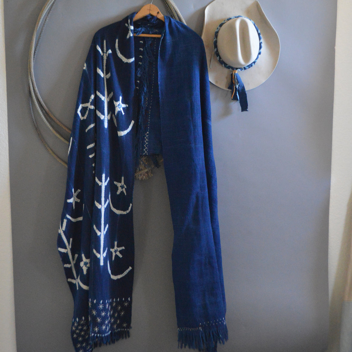 Santa Fe Plaza Shawl- Pieced Indigo 'Celebration Hands' with Boro Accents