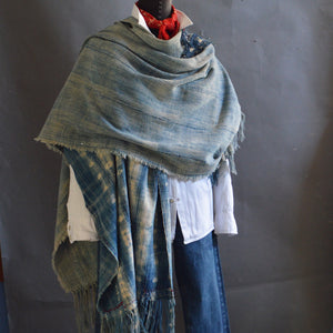 Santa Fe Plaza Shawl- Vintage Pieced Indigo with Boro Accents