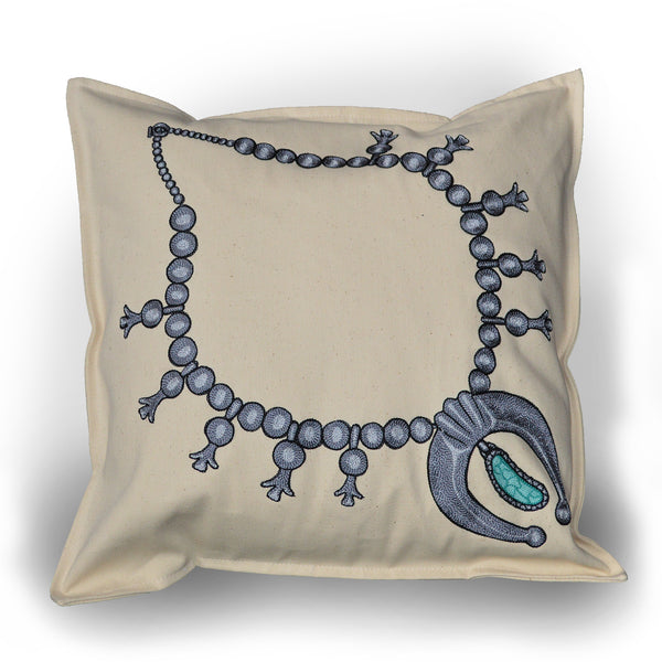 Chain Stitch Throw Pillow (Lg)- Sterling Squash Blossom Necklace