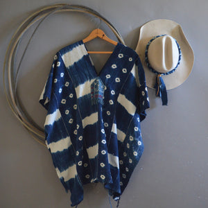 Serape- Vintage Dot Stripe Indigo with Boro Accents