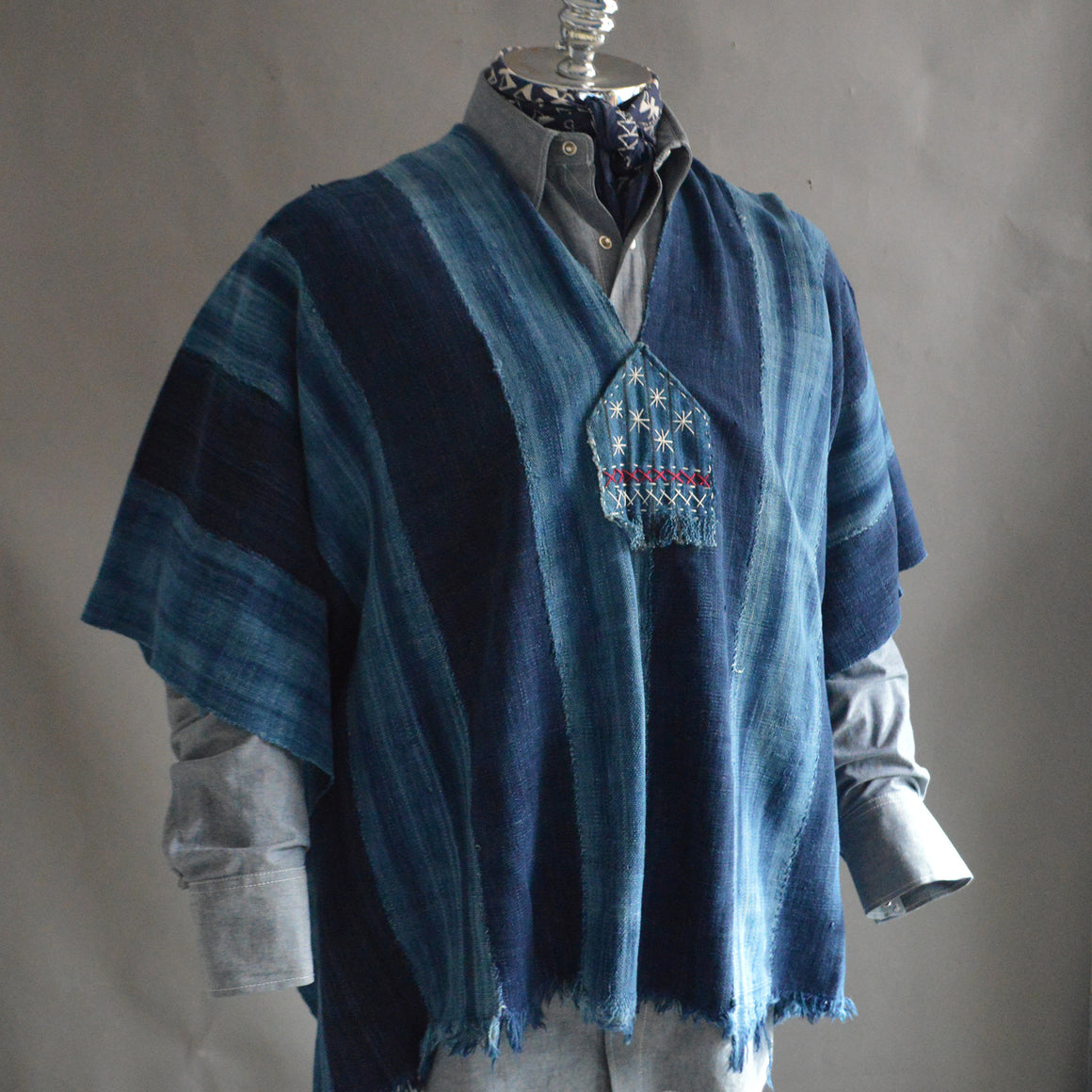 Serape- Vintage Dark Stripe Indigo with Boro Accents