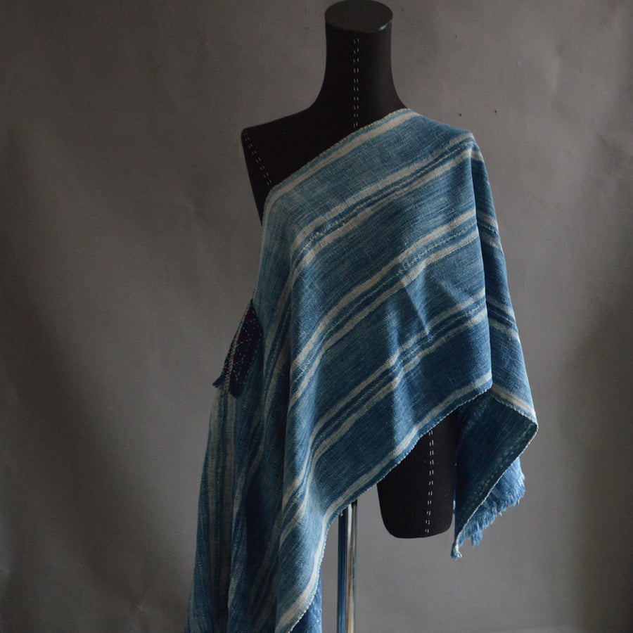 Serape- Vintage Pale Stripe Indigo with Boro Accents