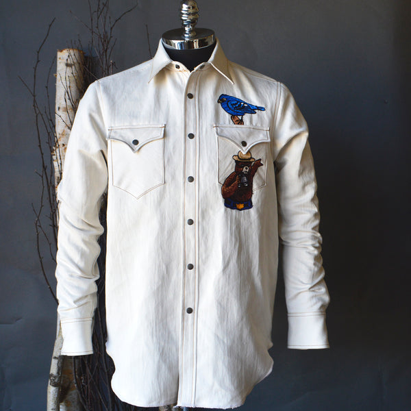 The Cowboy- Natural Denim Smokey Birdwatcher Shirt