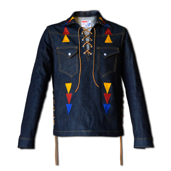 King Snake Pop-Over- Men's SMOKEY Indigo Selvedge Denim Jacket