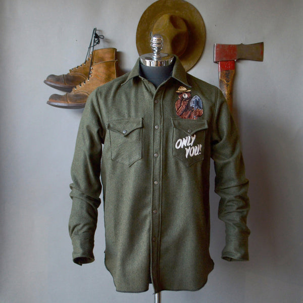 The Cowboy- Green Wool Smokey Shirt