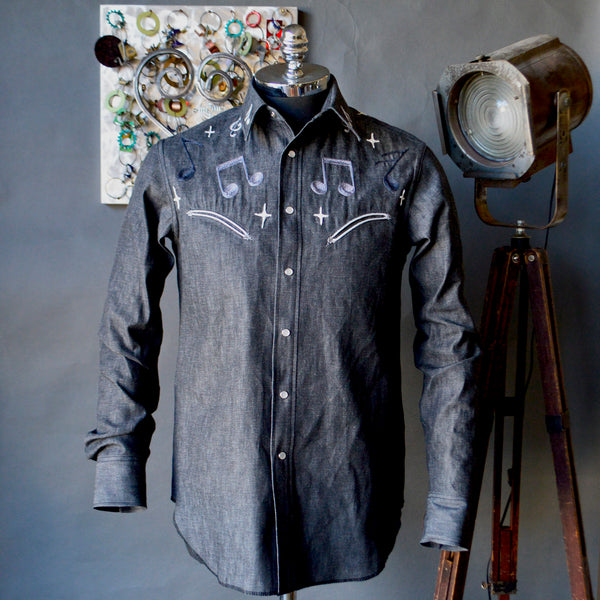 Space Tones- Men's Embroidered Denim Shirt