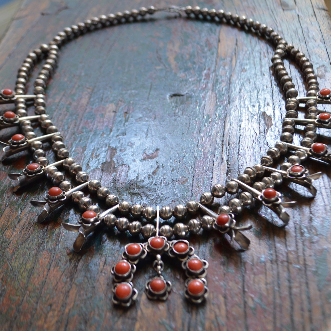 Vintage Necklace- Sterling Squash Blossom with Coral