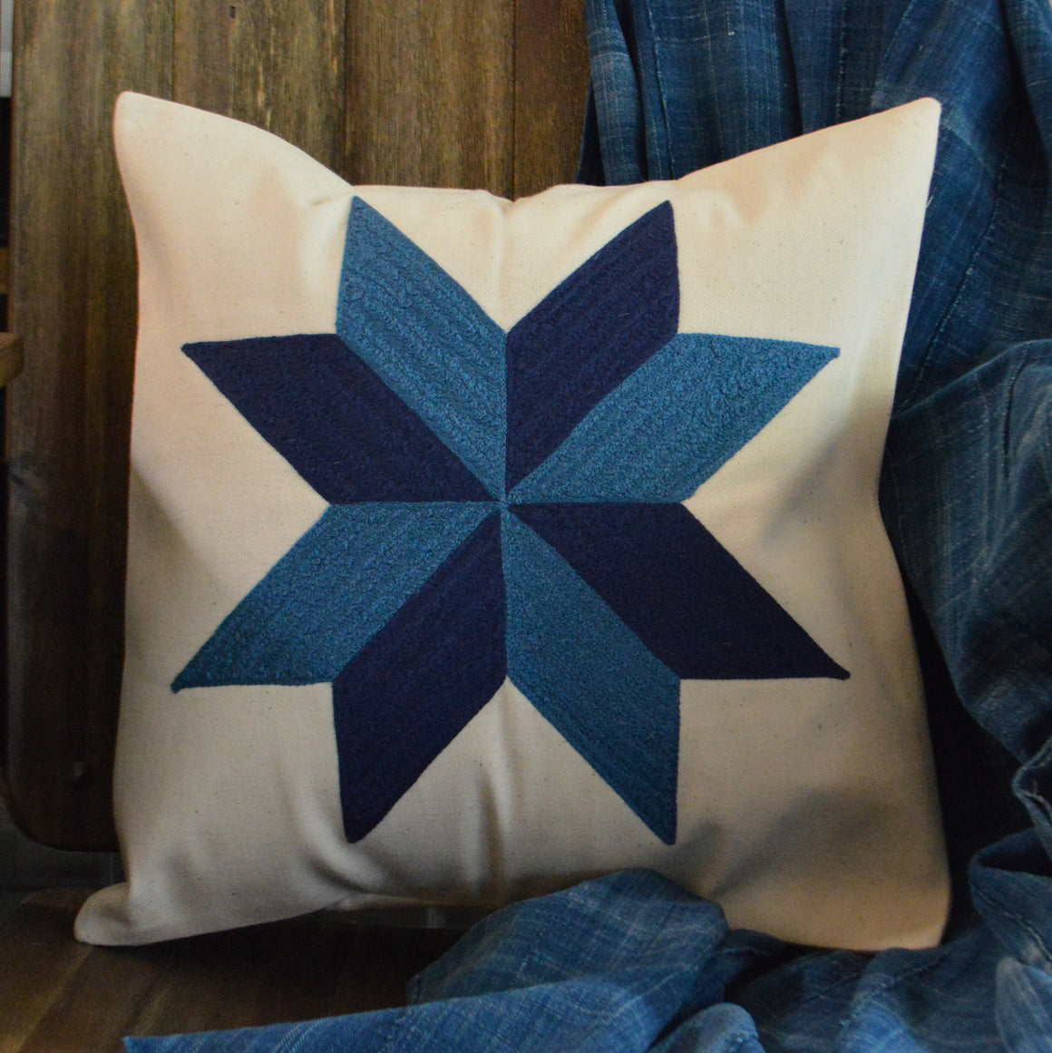 Chain Stitch Throw Pillow- Blue Star