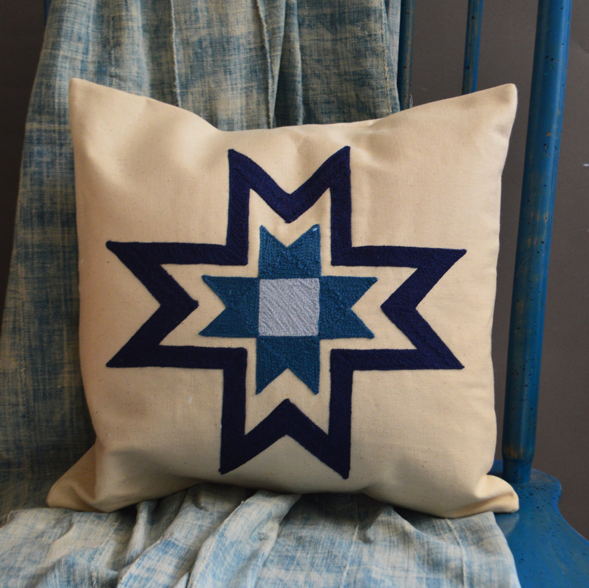 Chain Stitch Throw Pillow- Broken Blue Star