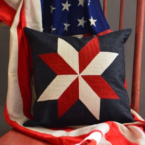 Chain Stitch Throw Pillow- Patriotic Star