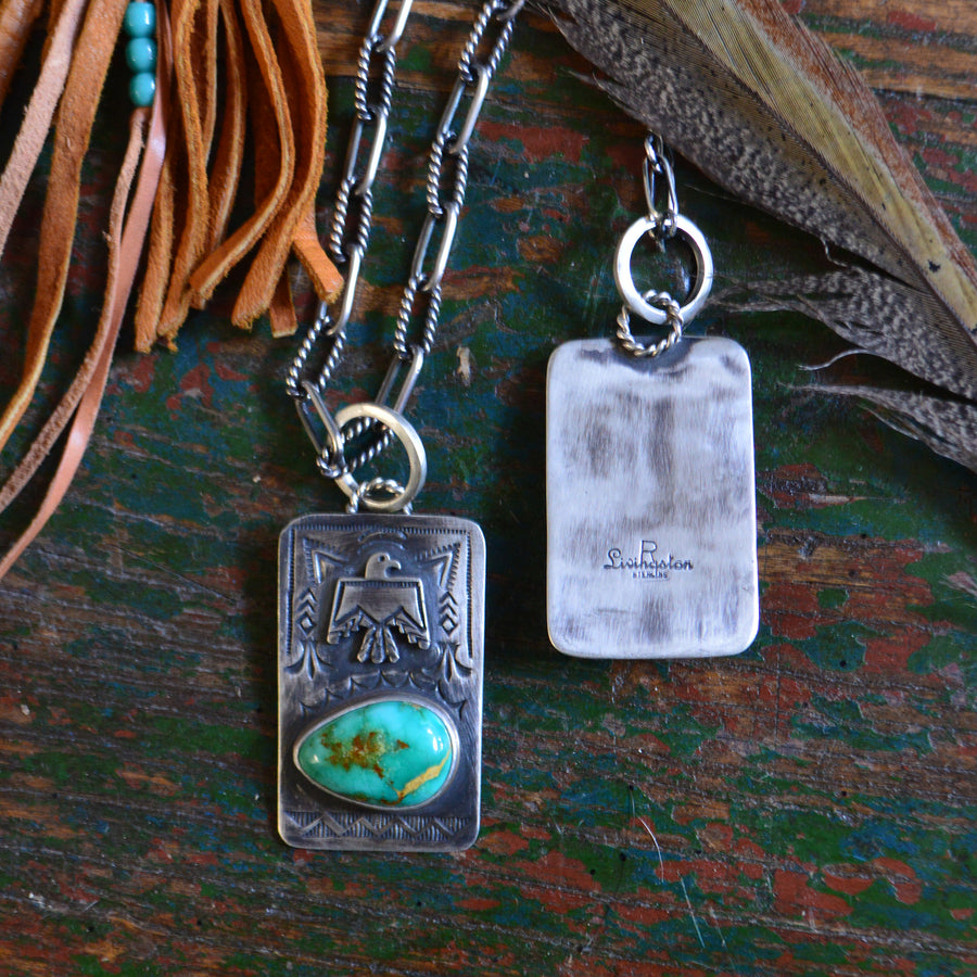 Necklace- Heavy Sterling Dog Tag with Turquoise Stone