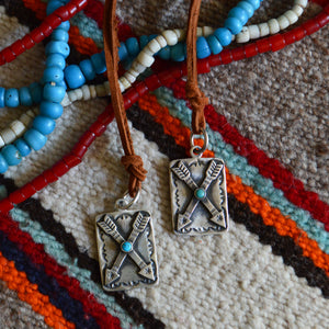 Necklace- Sterling Crossed Arrows with Turquoise Dog Tag