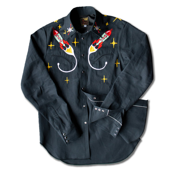 The Final Frontier- Men's Embroidered Denim Shirt