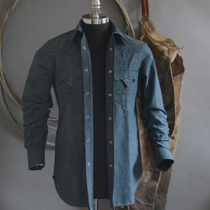 The Gambler- Men's Blue Chambray Shirt