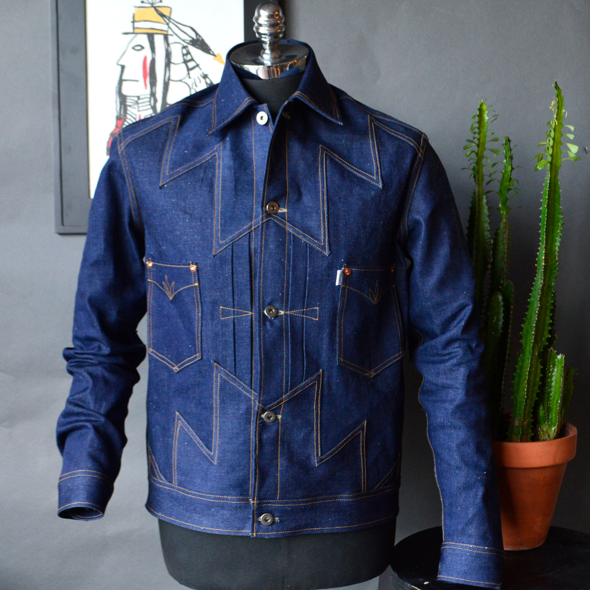 The Thunderbird- Men's Indigo Selvedge Denim Jacket