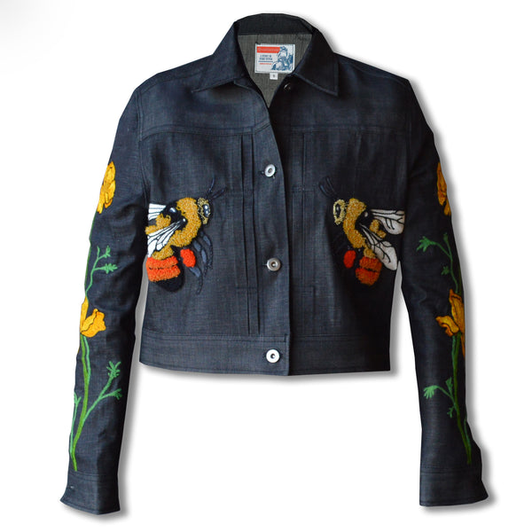 Working Class Hero- Women's Botanical Bee Black Denim Jacket