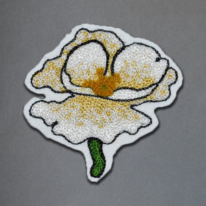 Chain Stitch Patch- White California Poppy Flower