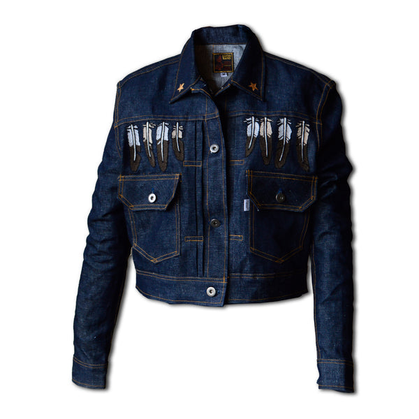 Working Class Heroine- Women's Indigo Denim Jacket with Feather Fringe
