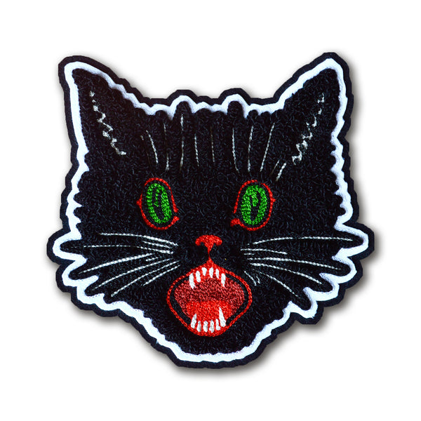 Chain Stitch Patch- Lucky Black Cat Head