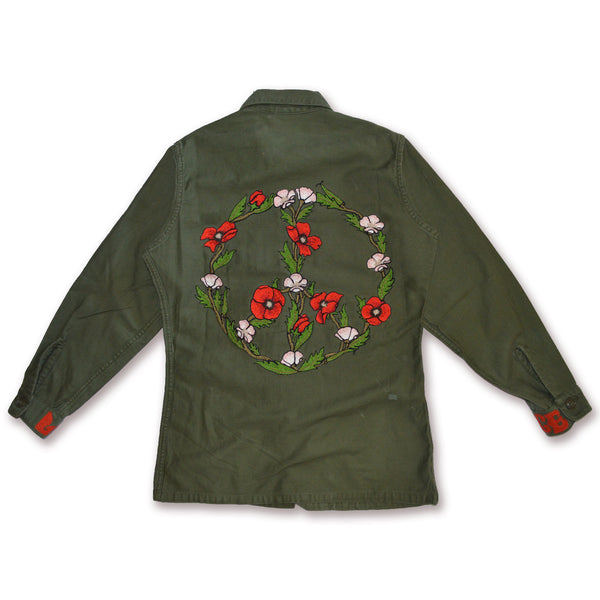 Vintage Military Shirt- PEACE POPPIES