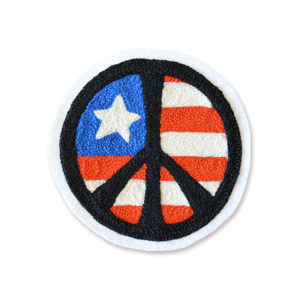Chain Stitch Patch- Patriotic PEACE Sign