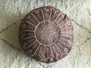 Moroccan pouf with embroidery in natural brown leather