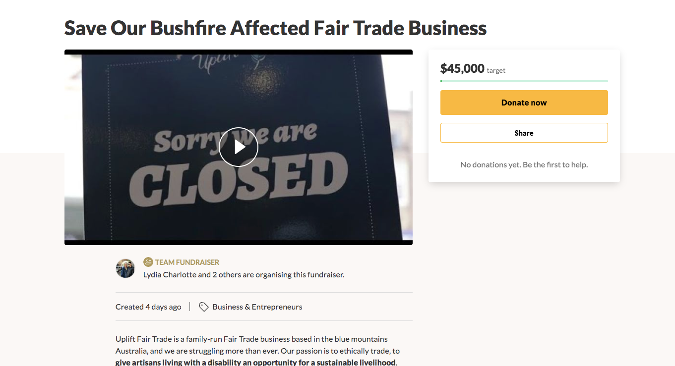 Save Our Bushfire Affected Fair Trade Business