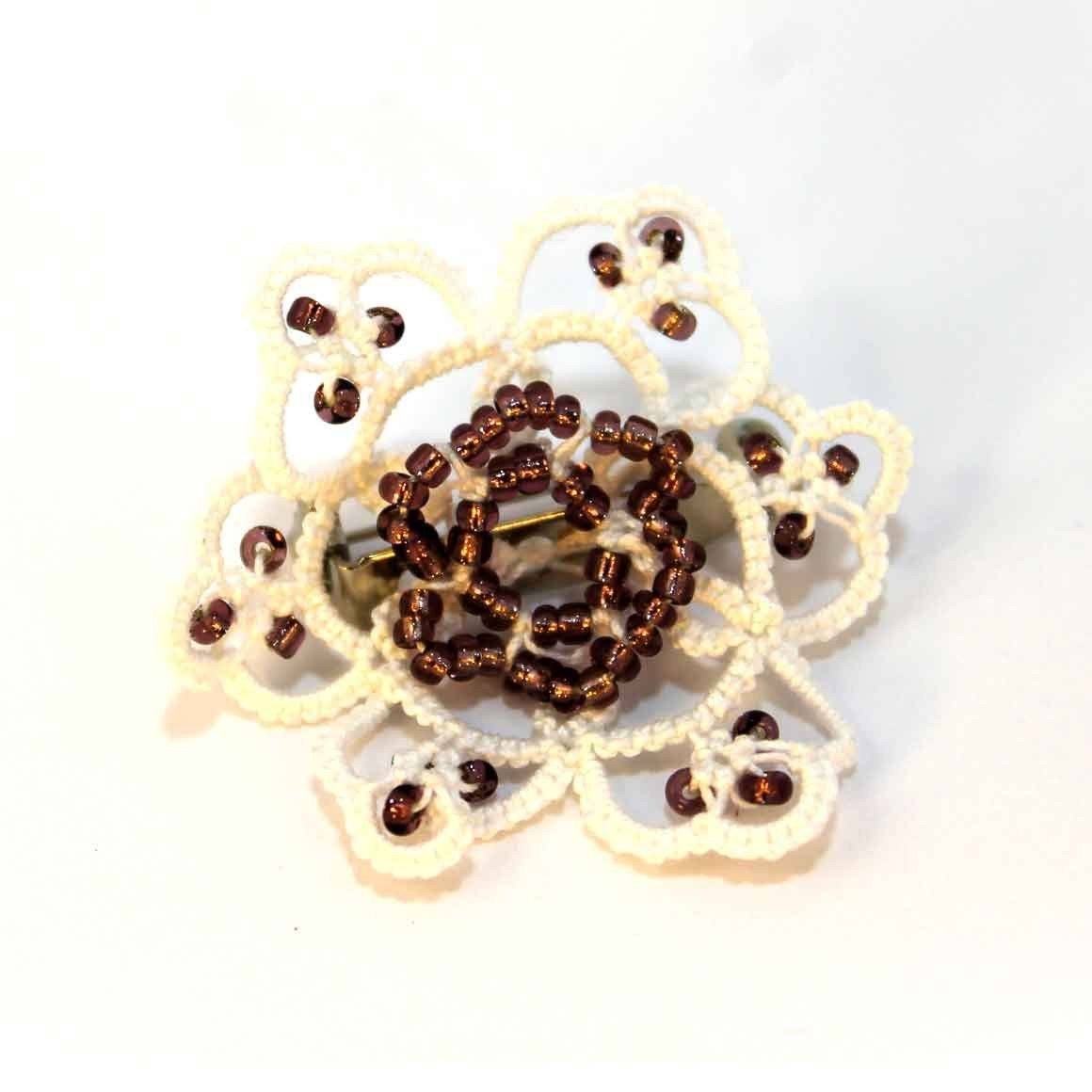 Fair Trade Tatted Brooch White/Brown