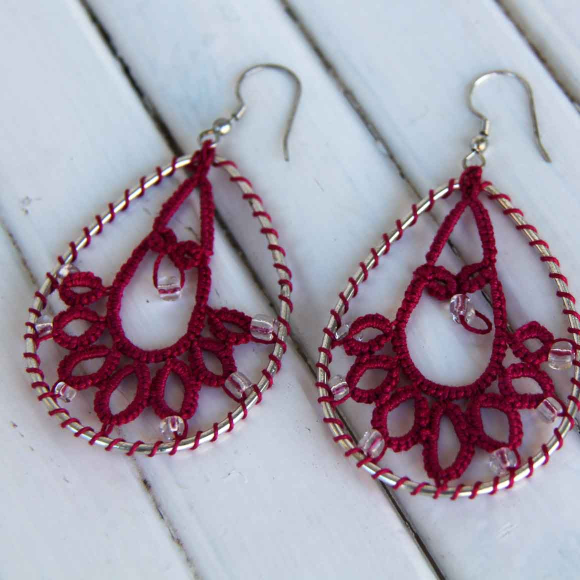 Fair Trade Earrings Tatted - Pink