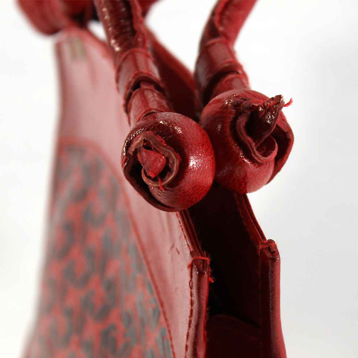 Fair Trade Leather Bag: Red