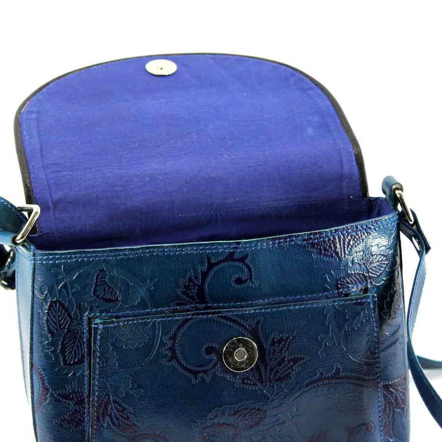 Fair Trade Leather Bag: Blue