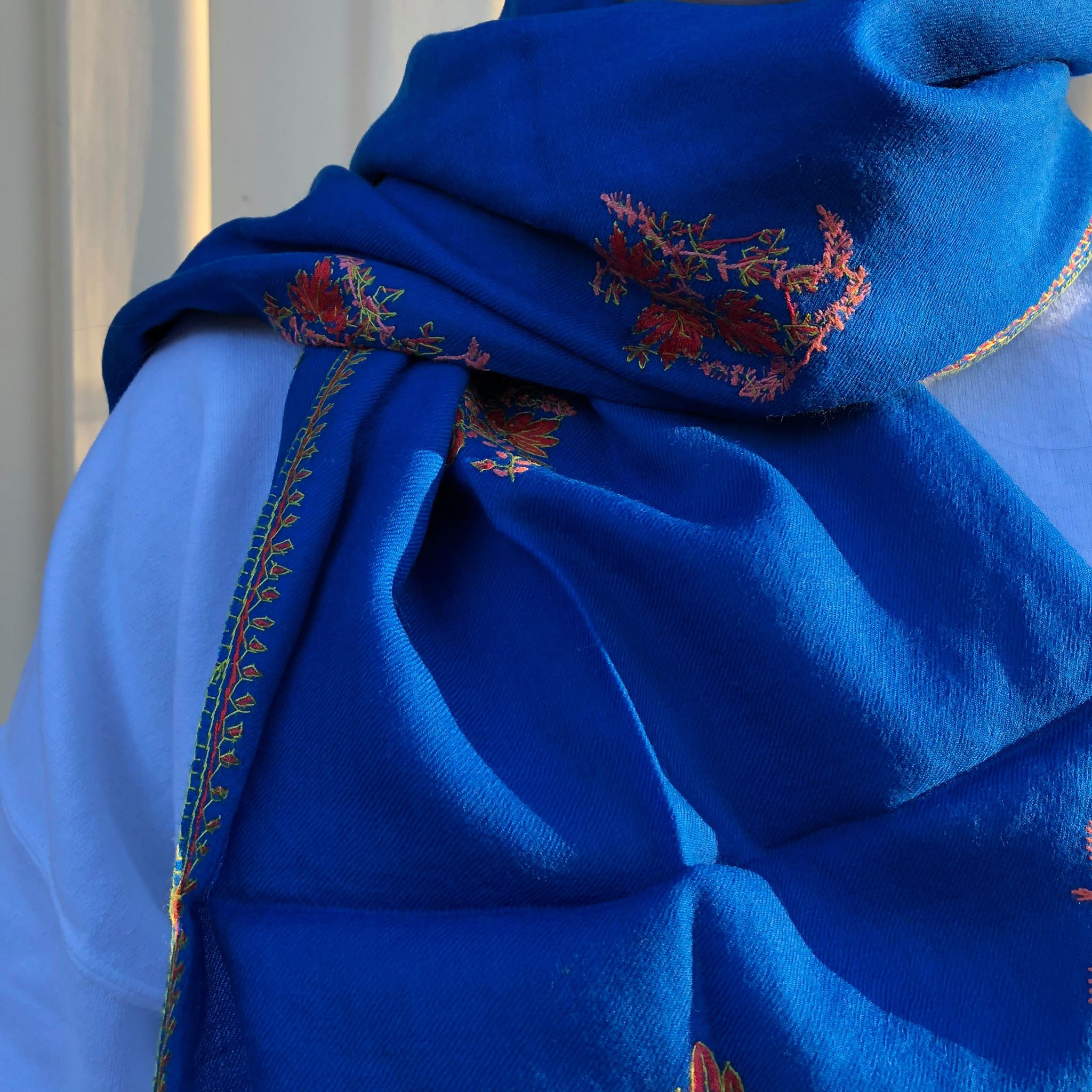 Fair Trade Embroidered Wool Shawl/Stole/Scarf (Blue Flower)