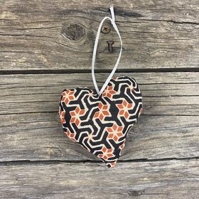 Fair Trade Remnant Fabric Heart Decorations - Black, Natural and Grey
