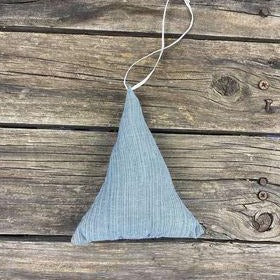 Fair Trade Remnant Fabric Triangle Tree Decorations - Blues