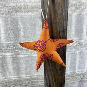 Fair Trade Remnant Fabric Star Decoration - Oranges
