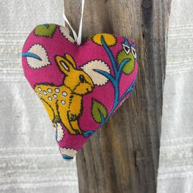 Fair Trade Remnant Fabric Heart Decoration - Wilderness Animals