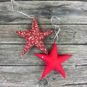 Fair Trade Remnant Fabric Star Decoration - Reds