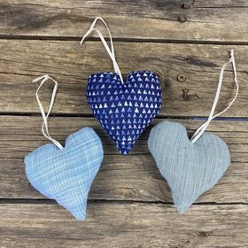 Fair Trade Remnant Fabric Heart Decorations - Blues