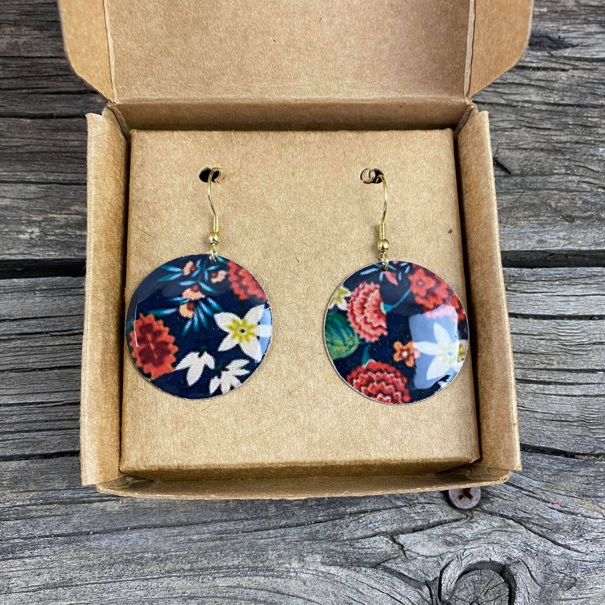 Fair Trade Resin Earrings Floral Design