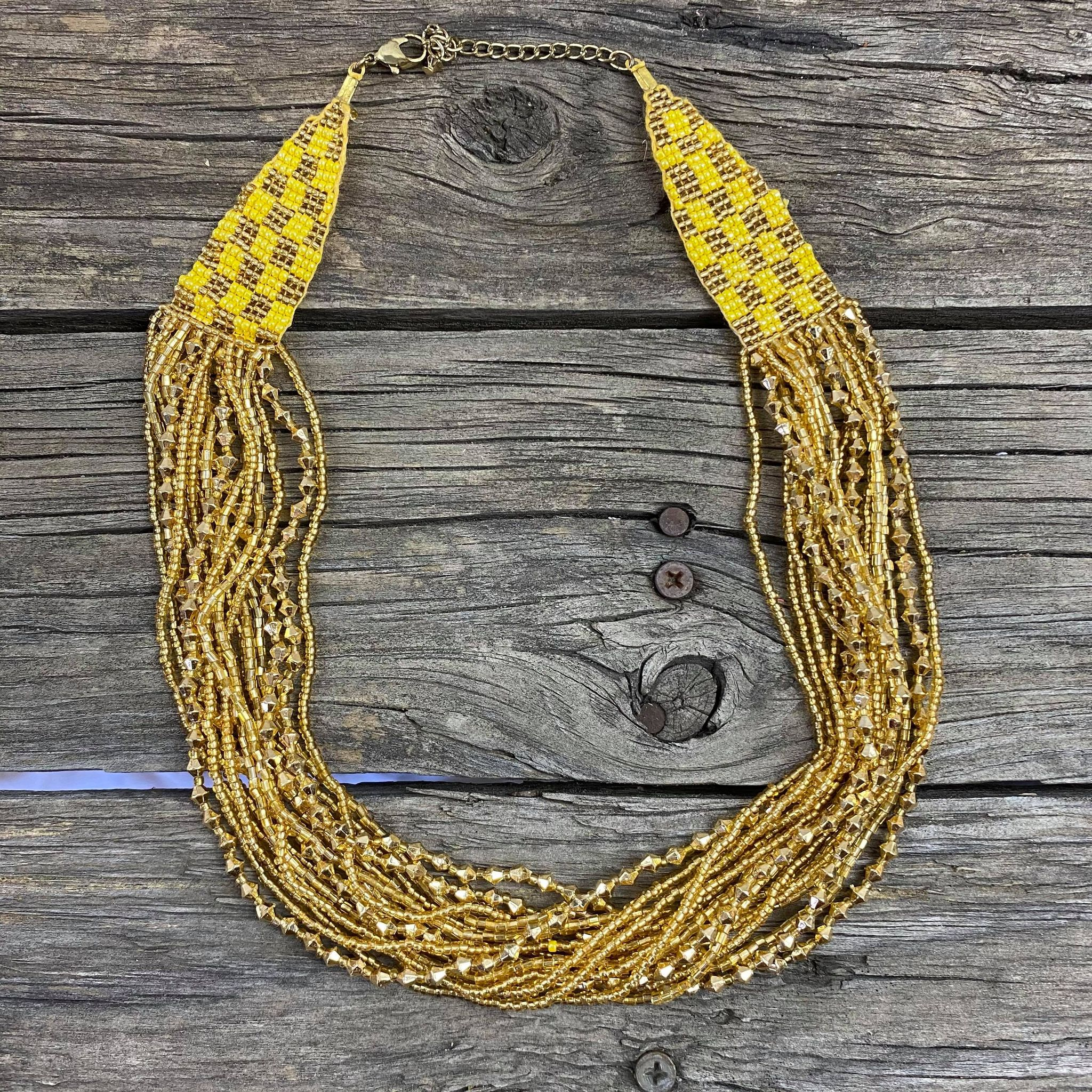 Fair Trade Gold Beaded Jewellery Set