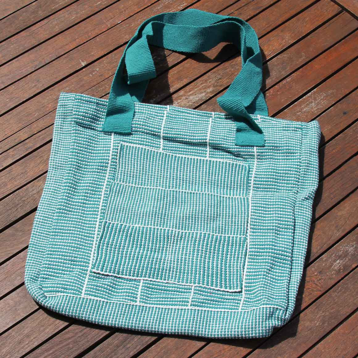 Fair Trade Woven Tape Bag Turqoise