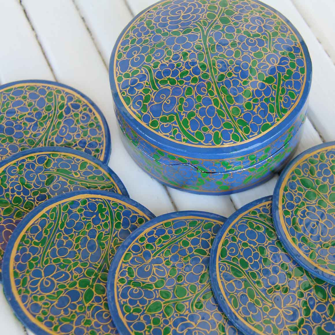 Fair Trade Ethical  Round Coaster Box Set Blue