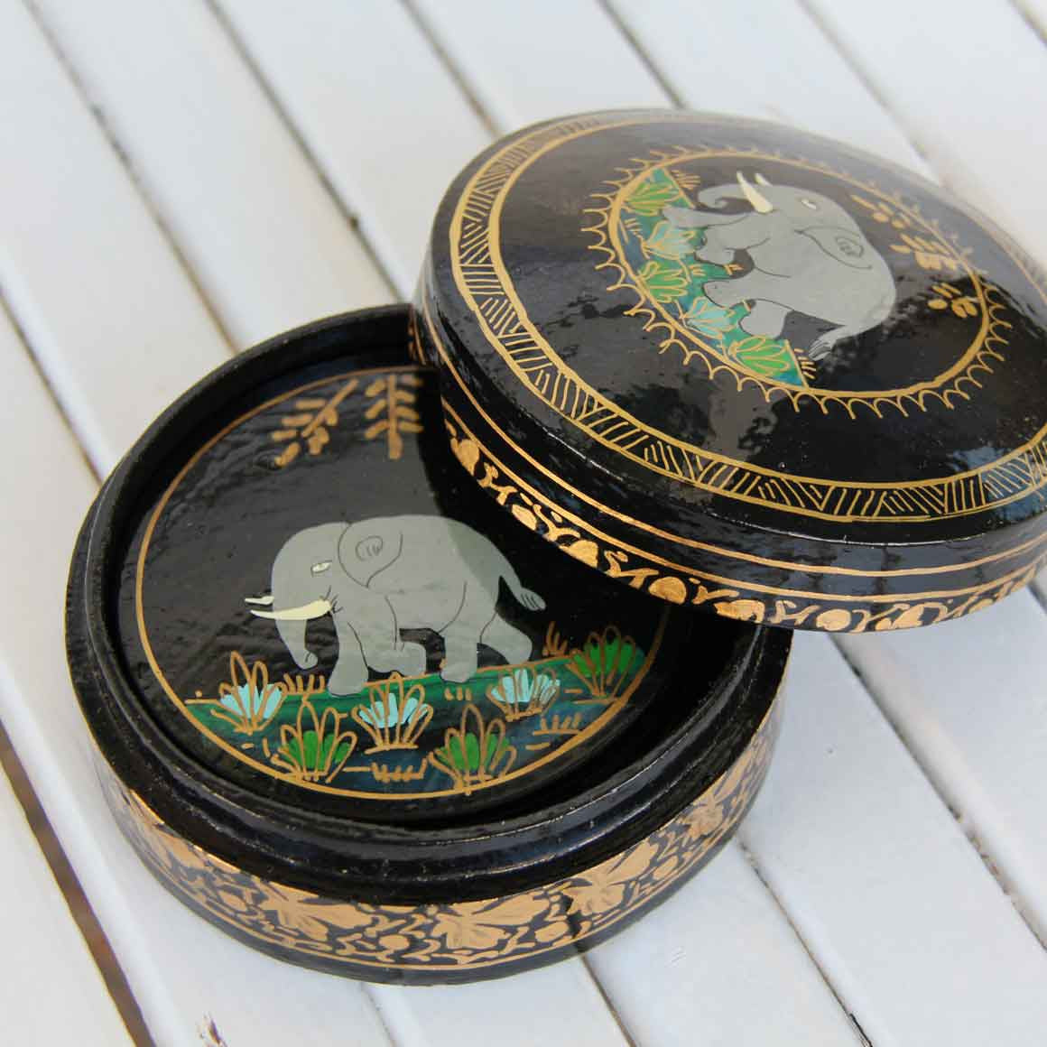 Fair Trade Ethical  Round Coaster Box Set Black Elephant