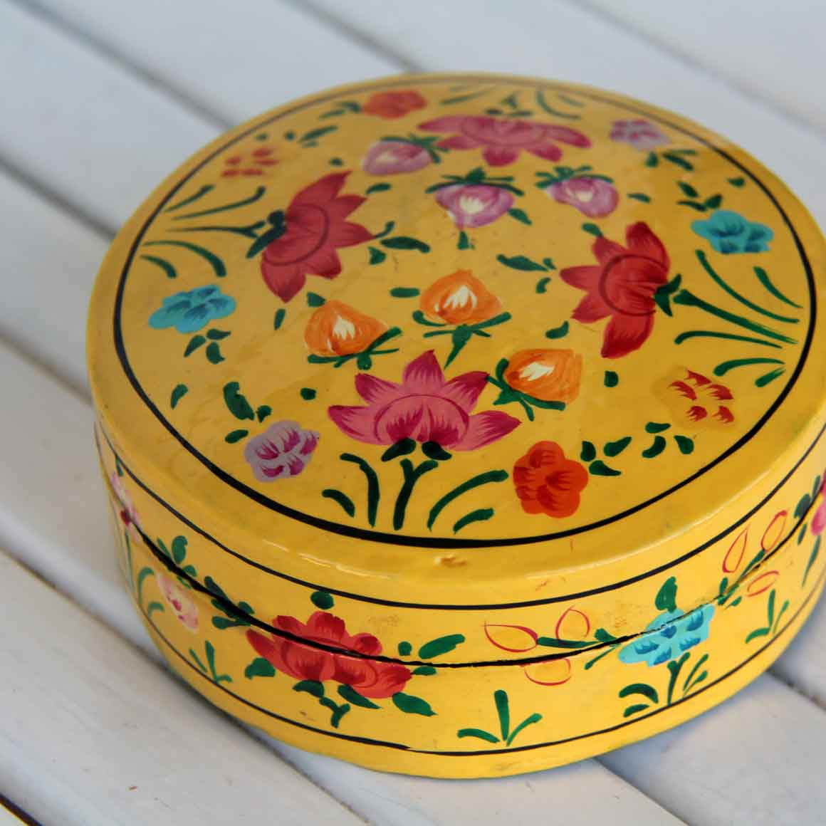 Fair Trade Ethical Round Coaster Box Set Yellow Flowers
