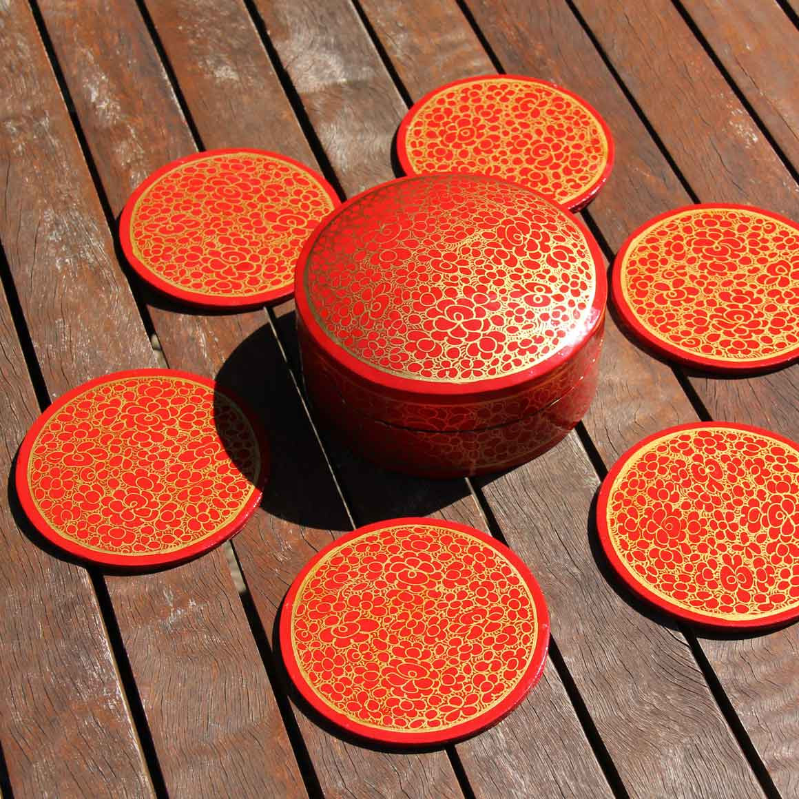 Fair Trade Boxed Round Coaster Set Red