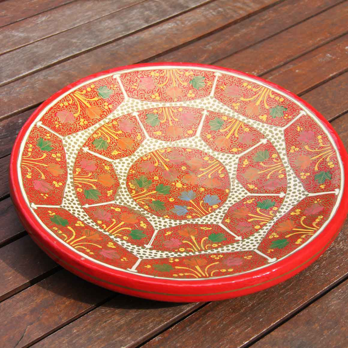 Fair Trade Painted Decal Fruit Bowl - Red